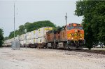 An eastbound intermodal slowly takes the siding Wyandotte