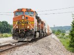 BNSF 5668 leads a westbound stack train