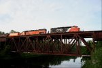 CN 5338 and BLE 909 over the bridge.