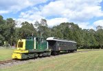 USS Tonner # 45 pulling its single restored elclosed CN Coach through the fields of Allaire State Park