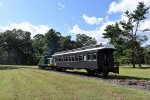 USS Tonner # 45 and its restored CN Coach about to enter the woods of Allaire State Park