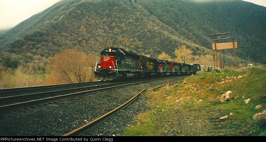 Southern Pacific's Salt Lake City,Utah-Grand Junction,CO Manifest At Castilla,Utah April 22.1995.
