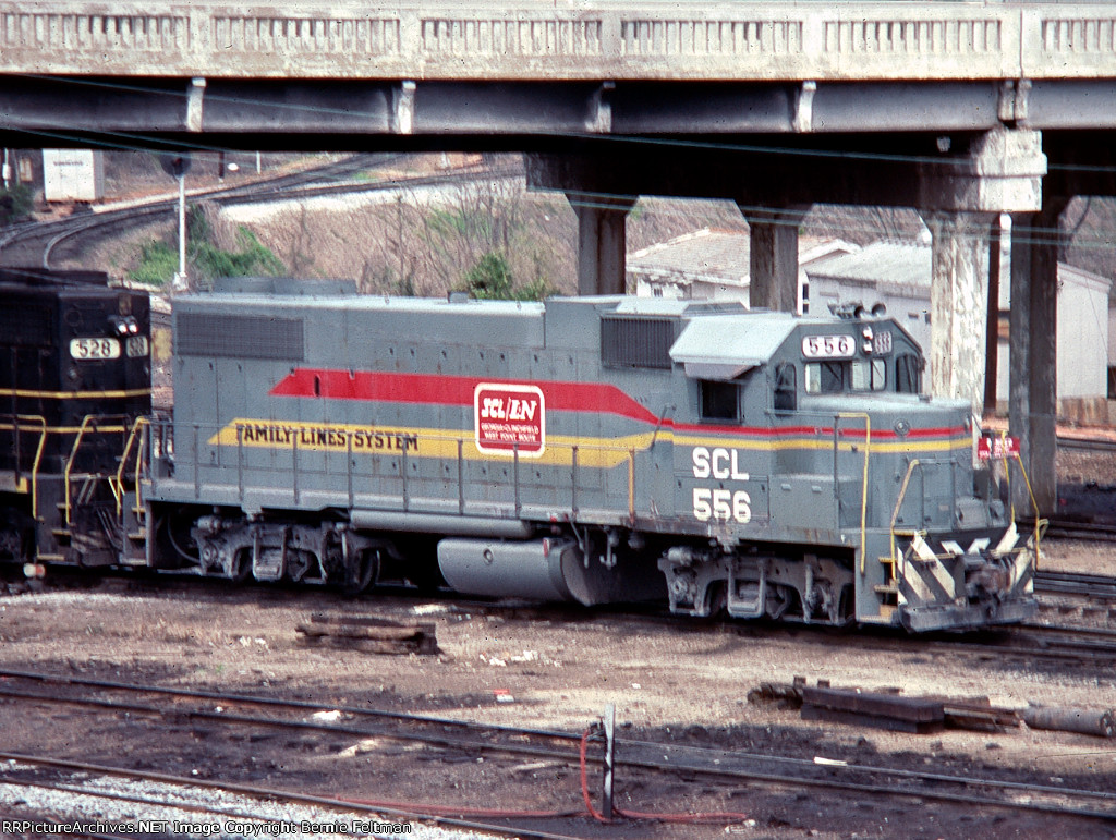 Seaboard Coast Line GP38-2 #556, tied down across from the SCL Yard Office,