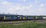 A trio of CSX SD40-2's sit in the yard