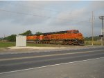 BNSF 7857  14Apr2011  Two-unit Power SB on UP Tracks at Center Point Road  #2