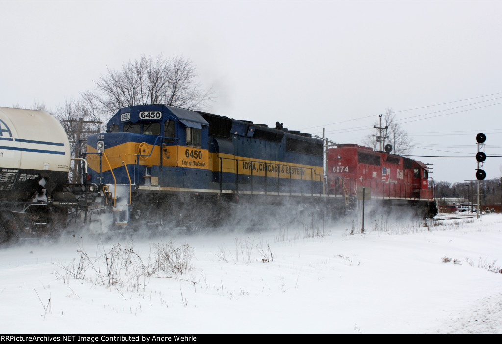 CP 282 kicks up snow, about to knock down the EB clear on the searchlight