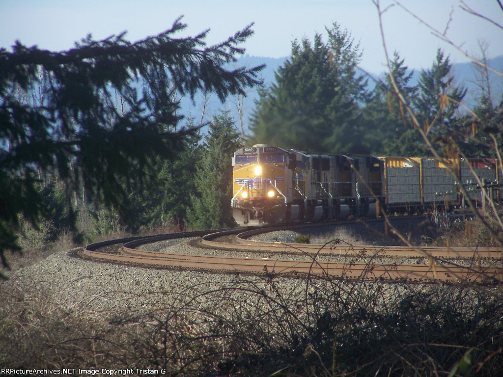 UP 5397 Leads A Long Lumber Train
